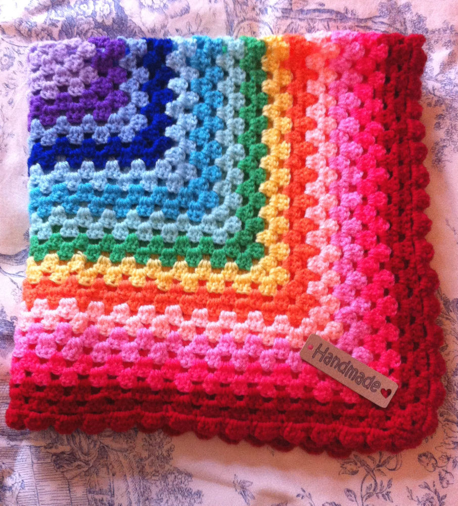 Lovely Crochet Baby Blanket Rainbow Cot Pram Car Seat Moses Rainbow Crochet Blanket Of Great 40 Photos Rainbow Crochet Blanket