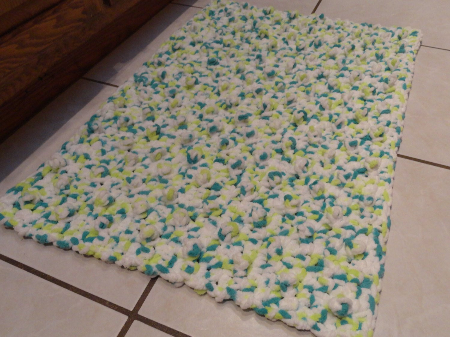Crochet Bathroom Rug White Citron Teal Bumpy Bath Mat Kitchen