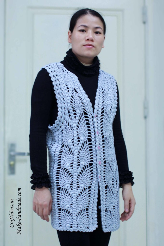 Lovely Crochet Beauty Lace Pineapple Jacket and Vest Crochet Jackets Patterns Of Top 44 Photos Crochet Jackets Patterns
