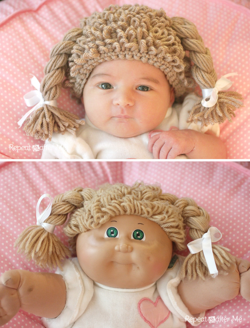 Lovely Crochet Cabbage Patch Doll Inspired Hat Repeat Crafter Me Baby Cabbage Patch Doll Of Great 47 Photos Baby Cabbage Patch Doll