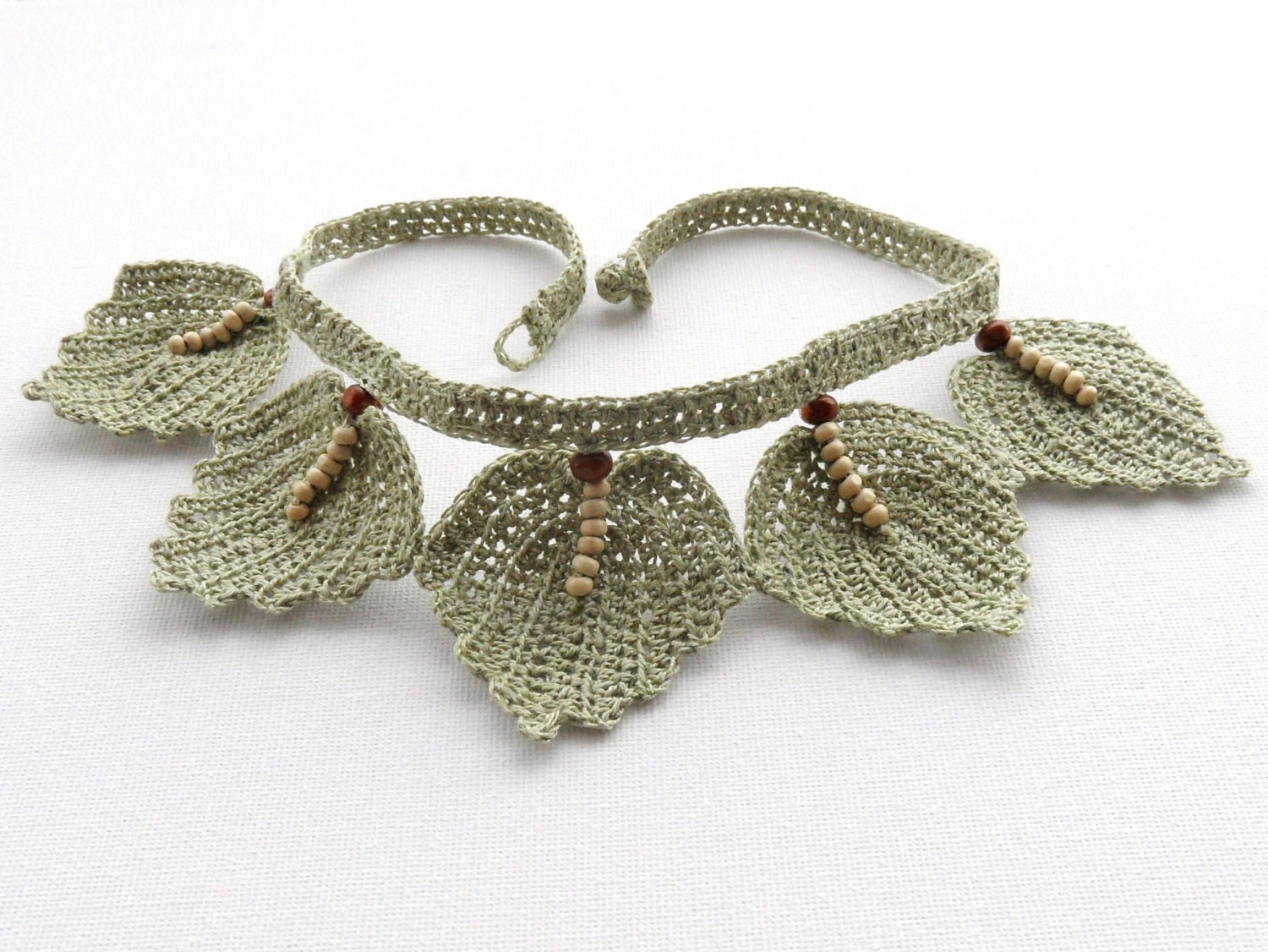 Lovely Crochet Choker Natural Linen Necklace Beaded Leaves Crochet Beads Necklace Of Fresh 42 Models Crochet Beads Necklace
