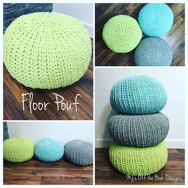 Crochet Floor Pouf And Ottoman Free Patterns
