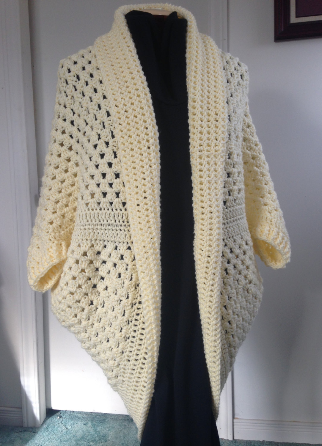 Lovely Crochet Granny Square Cocoon Sweater Cardigan Shrug In Cream Crochet Cocoon Cardigan Of Charming 45 Pics Crochet Cocoon Cardigan