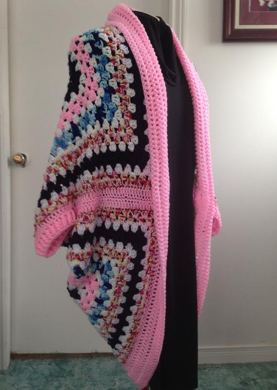 Lovely Crochet Granny Square Cocoon Sweater Cardigan Shrug In Crochet Cocoon Cardigan Of Charming 45 Pics Crochet Cocoon Cardigan