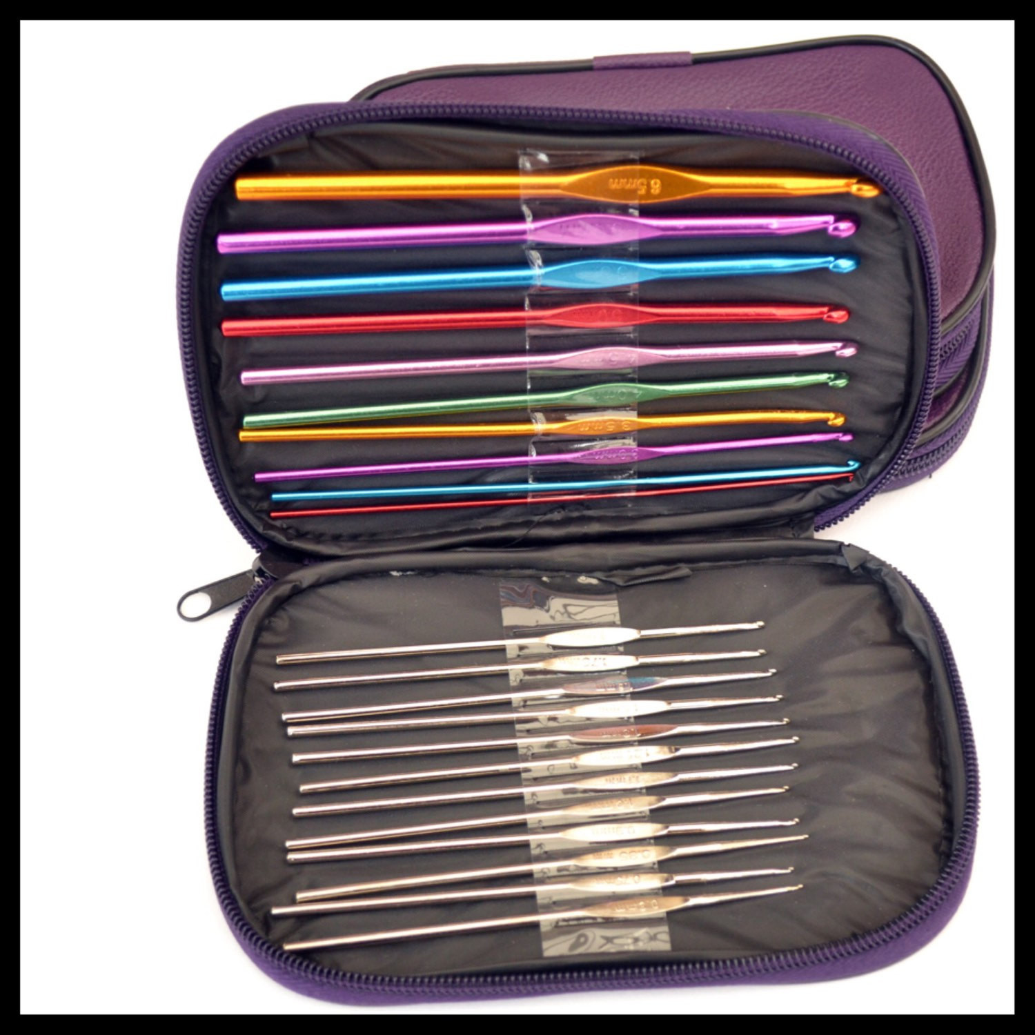 CROCHET HOOK CASE Set of 22 coloured metal by MagpieLaneCrafts