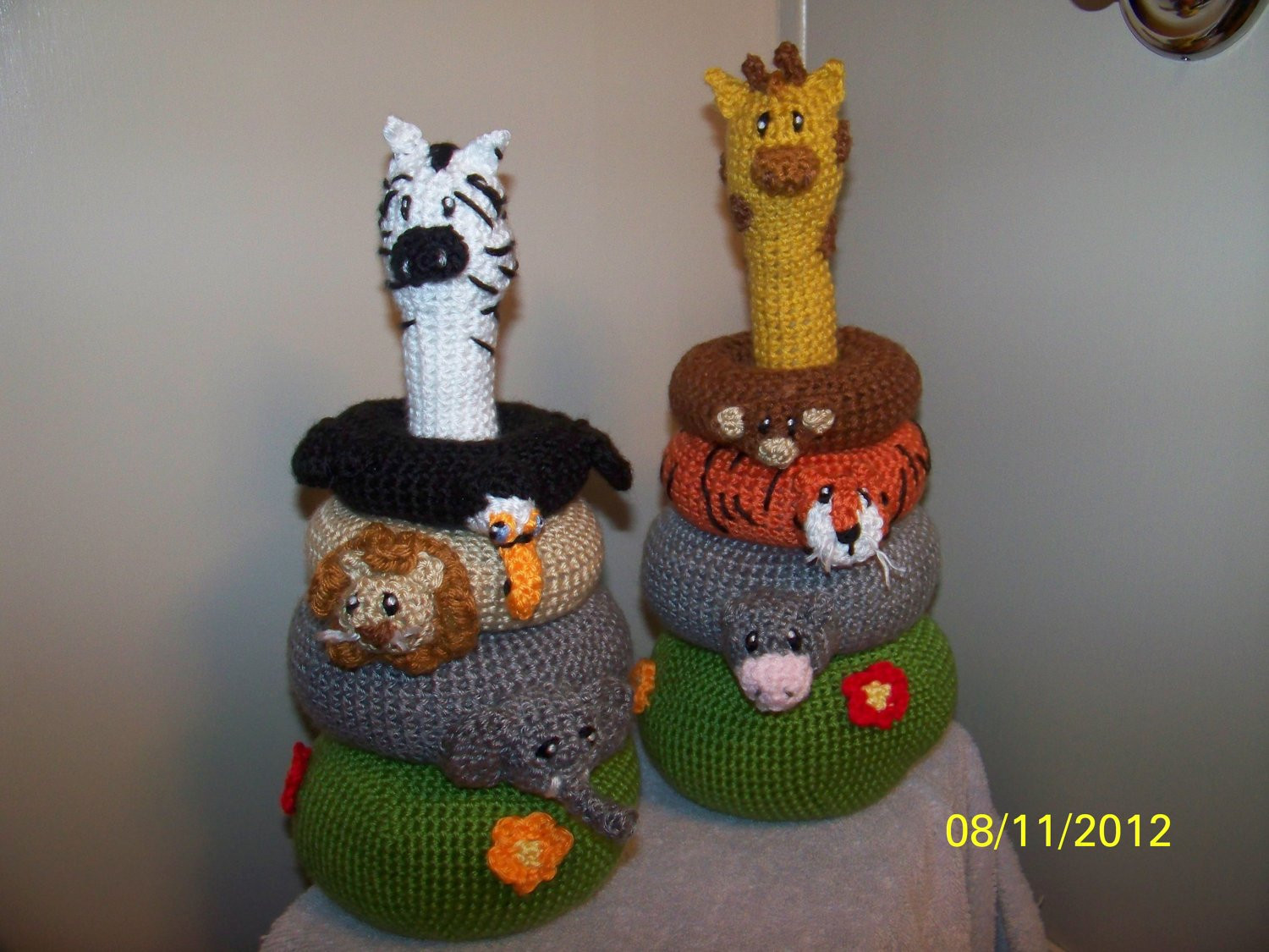 Crochet Jungle Stacker baby toy crochet toy IT also RATTLES