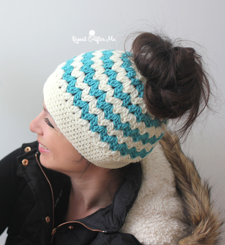 Lovely Crochet Mommy and Me Messy Bun Hats Repeat Crafter Me Messy Bun Hat Pattern Of Perfect 44 Models Messy Bun Hat Pattern