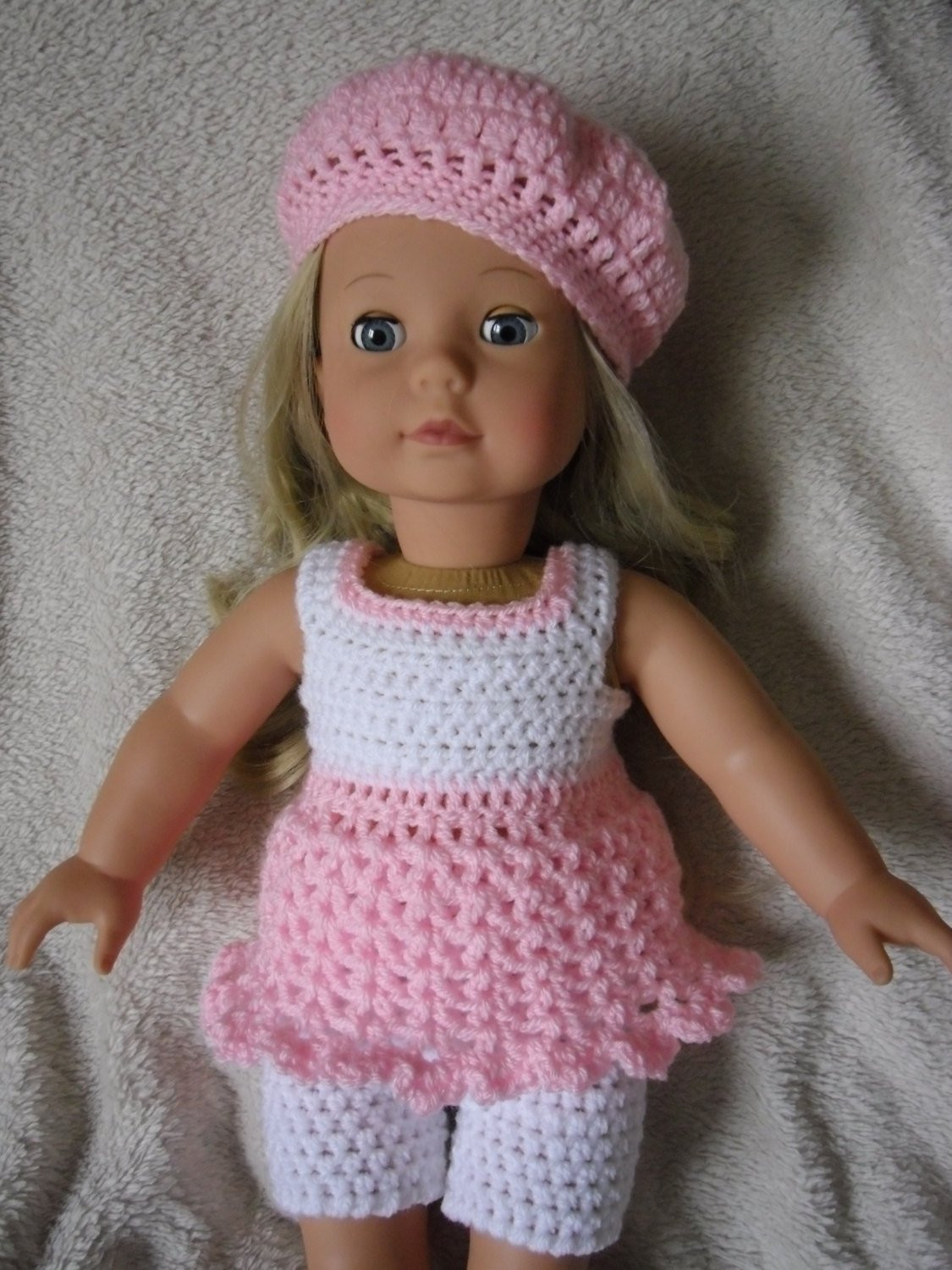 Crochet pattern for dress shorts and hat for 18 inch doll