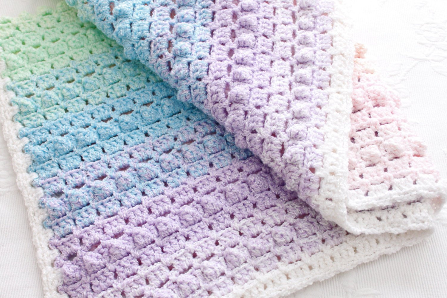 Crochet Pattern Rainbow Baby Blanket Pretty Popcorn Stitch