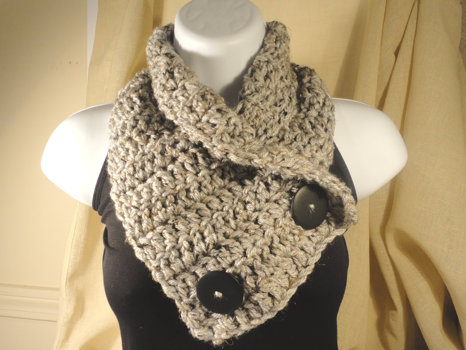 Crochet Scarf Cowl Neck Warmer with Buttons Gray Grey with