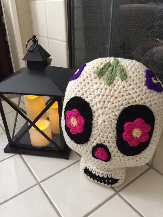 Lovely Crochet Sugar Skull Pillow Crochet Sugar Skull Of Incredible 47 Pictures Crochet Sugar Skull