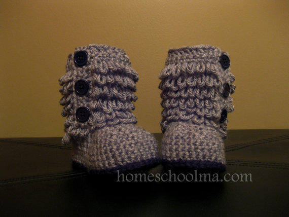 Crochet Ugg inspired Baby Boots Grey from homeschoolma on Etsy