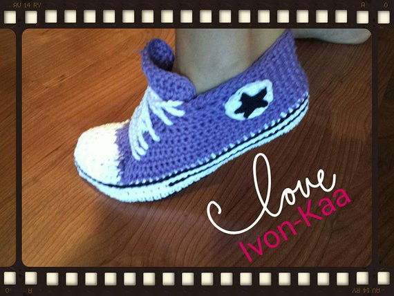 Lovely Crochet Womens Slippers Converse Boots House Shoes Crochet Crochet Converse Slippers Of Amazing 40 Ideas Crochet Converse Slippers