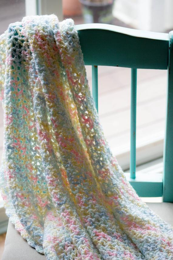 Lovely Crocheted Baby Blanket In A soft Pastel Variegated Yarn Variegated Baby Yarn Of Beautiful 49 Pictures Variegated Baby Yarn