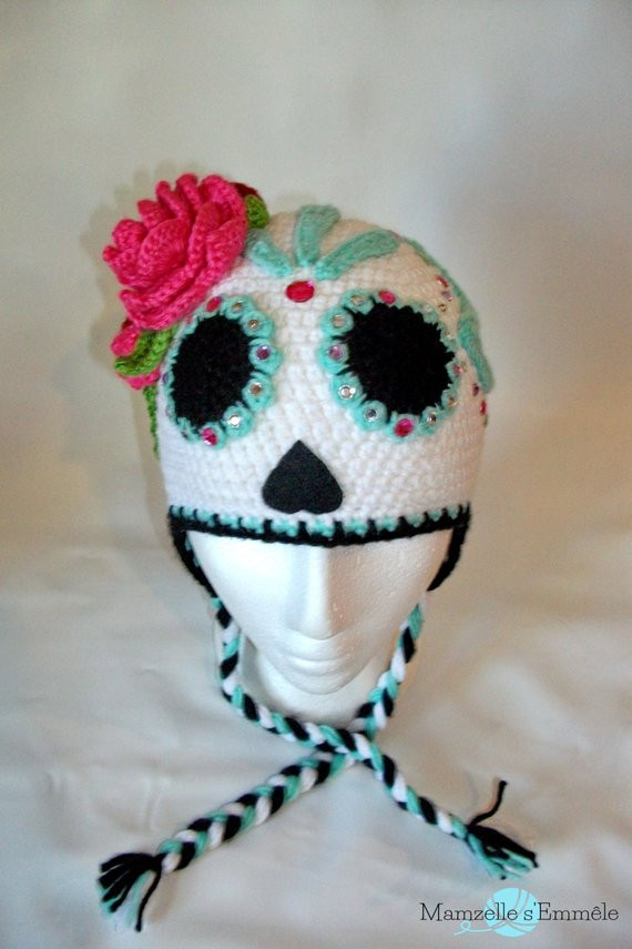 Lovely Custom Stw Ready to Ship Unique Sugar Skull Crochet Hat Dia Crochet Sugar Skull Of Incredible 47 Pictures Crochet Sugar Skull