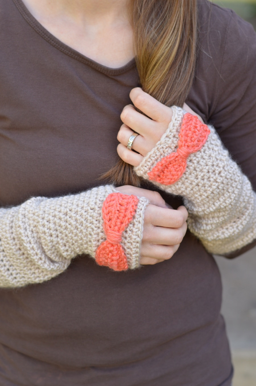 Dainty Bow Crochet Arm Warmers Whistle and Ivy
