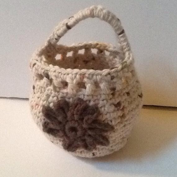 Doorknob basket crochet basket hanging basket organizing