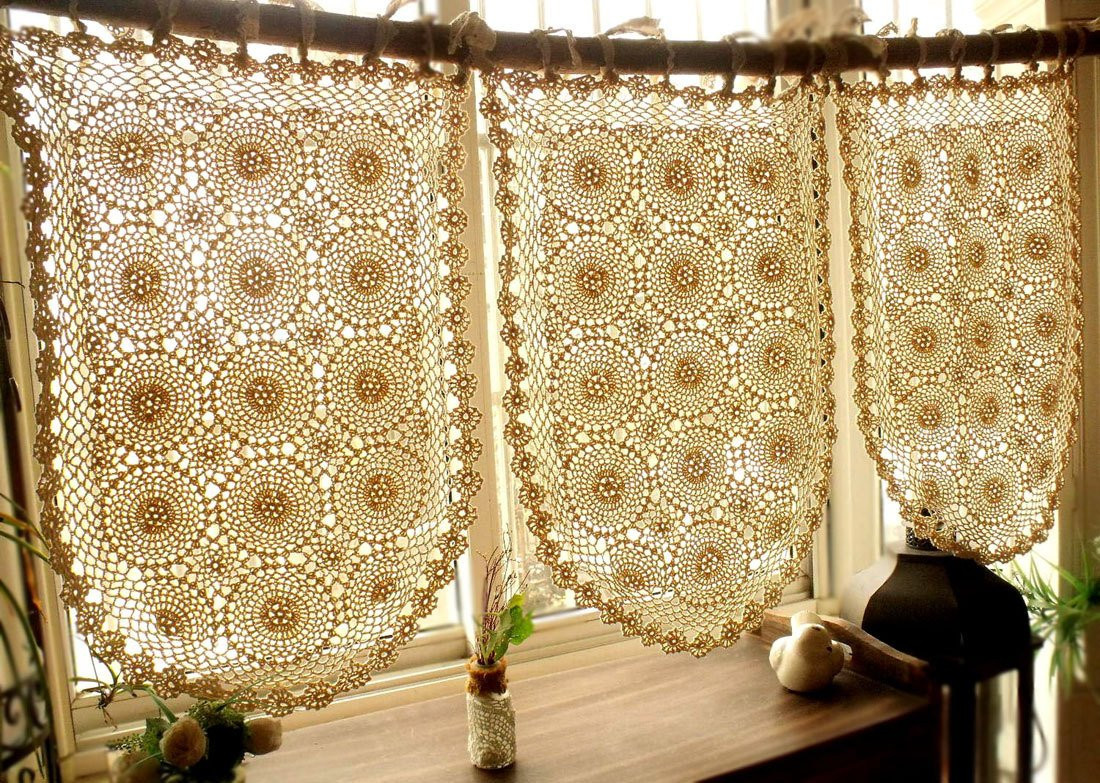 Lovely E Panel Vintage Valance Boho Hippie Gypsy Crochet Curtain Crochet Curtains Of Marvelous 47 Pictures Crochet Curtains