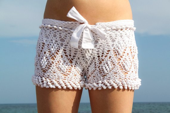 Lovely Exclusive White Crochet Beach Shorts White Crochet Shorts Of Amazing 40 Photos White Crochet Shorts