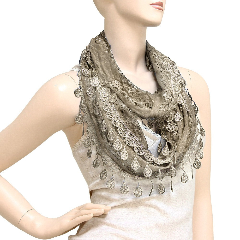 Lovely Falari Women Loop Infinity Lace Scarf with Fringes Lace Infinity Scarf Of Charming 45 Ideas Lace Infinity Scarf