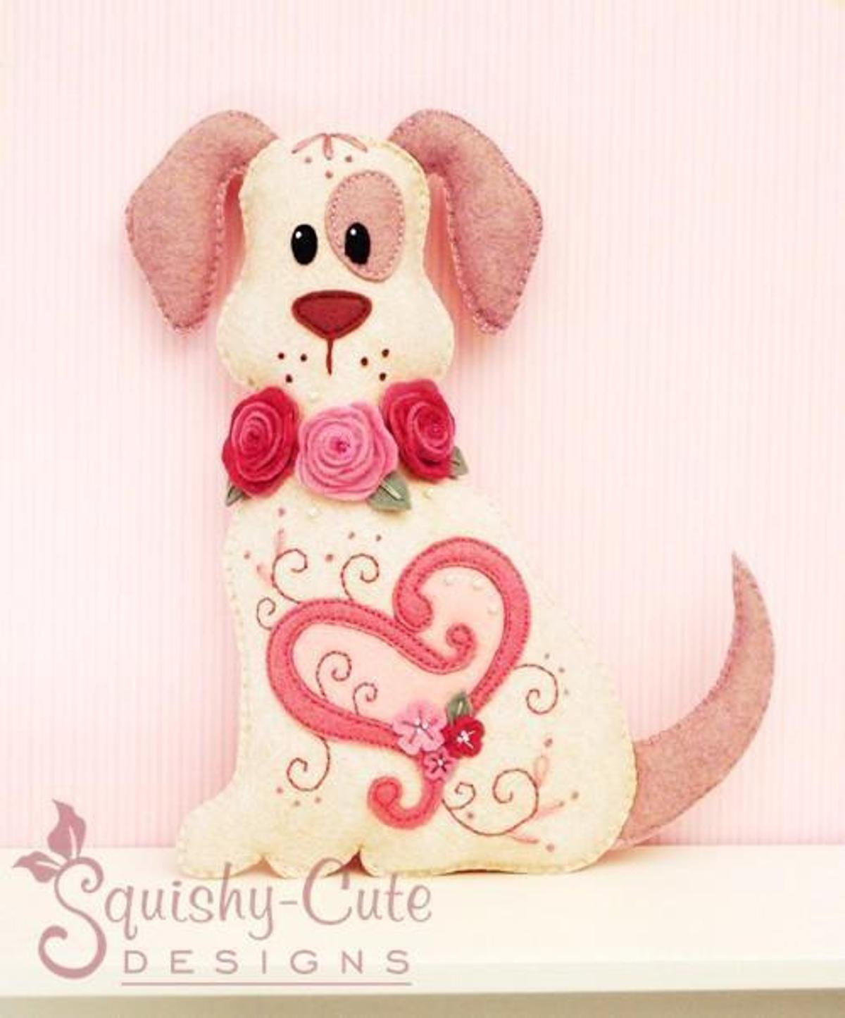 Felt Valentine Dog Stuffed Animal