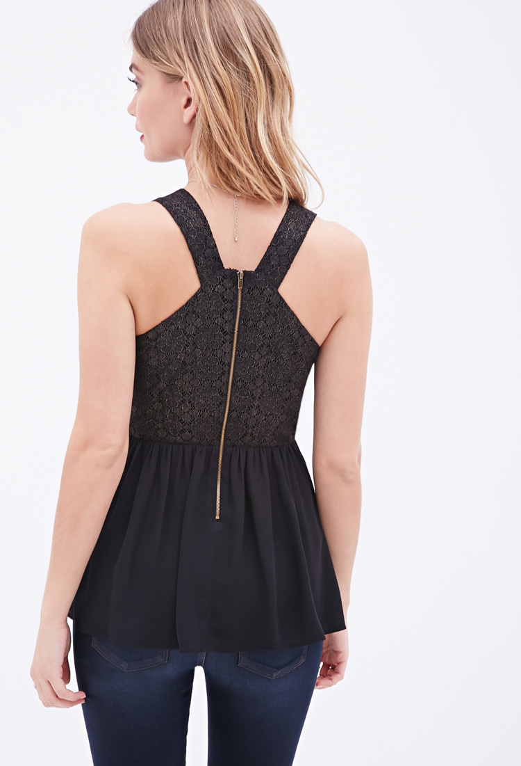 Forever 21 Contemporary Crochet Top in Black