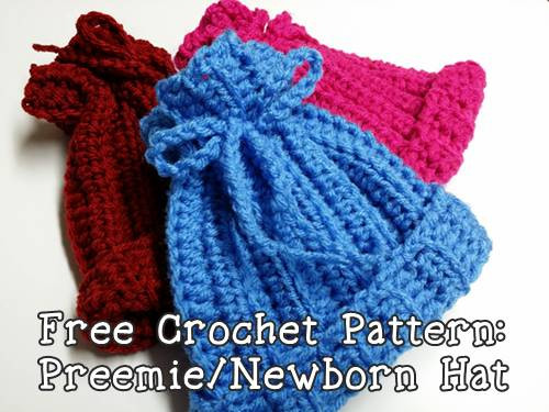 Free Crochet Pattern Ribbed Newborn or Preemie Hat Mimi