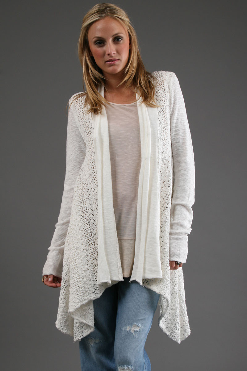 Lovely Free People Crochet Cardigan In White In White White Crochet Sweater Of Wonderful 44 Ideas White Crochet Sweater