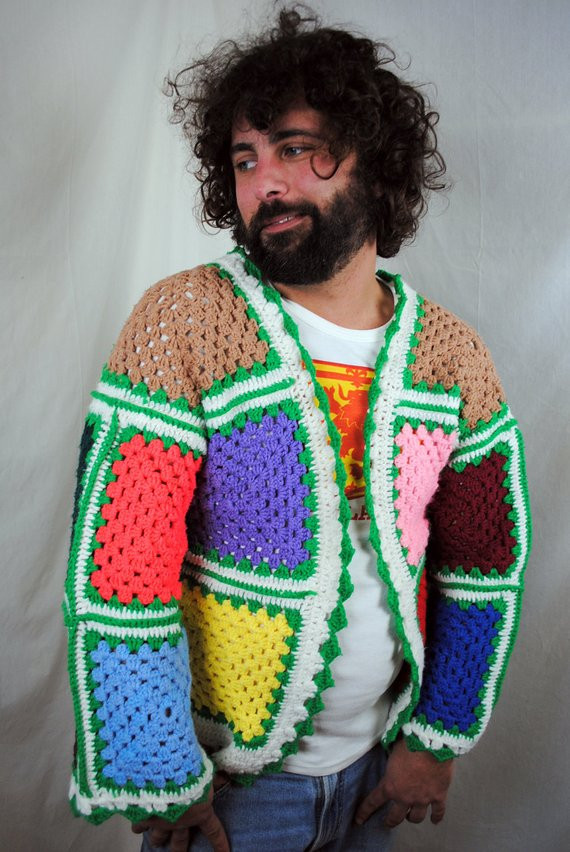 Lovely Funky Handmade Vintage Rainbow Granny Square Afghan Crochet Granny Square Sweater Of Superb 45 Photos Granny Square Sweater