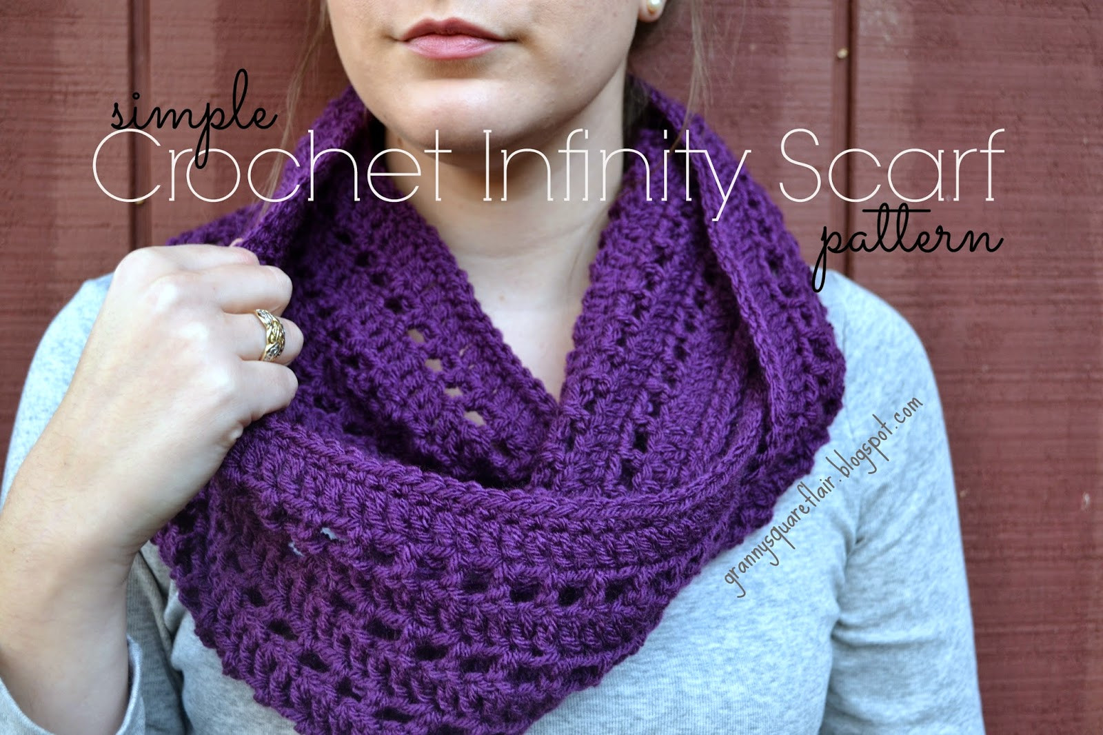 Granny Square Flair Simple Crochet Infinity Scarf Patteren