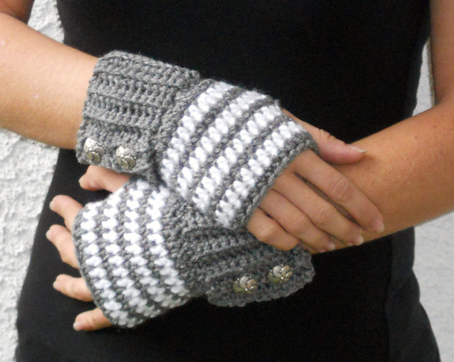 Lovely Grey and White Stripe button Crochet Wrist Warmers Arm Crochet Arm Warmers Of Gorgeous 44 Images Crochet Arm Warmers