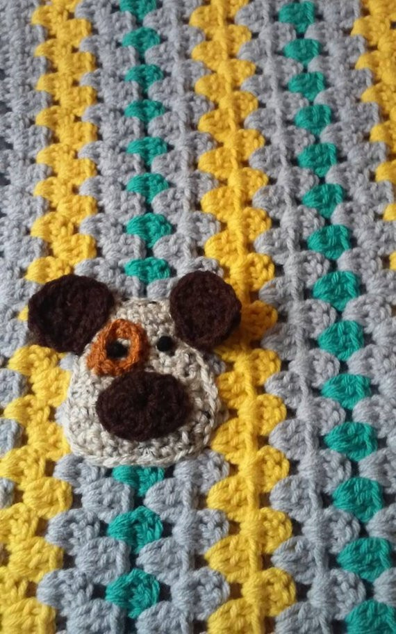 Hand crochet Gray Teal Sunflower DOGGIE BABY BLANKET