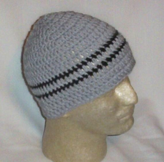 Hand Crochet Men s Skull Cap Beanie Hat Gray by MoonTwinkles
