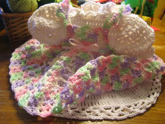 Hand Crocheted Baby Dress in Variegated Pink Green Purple and