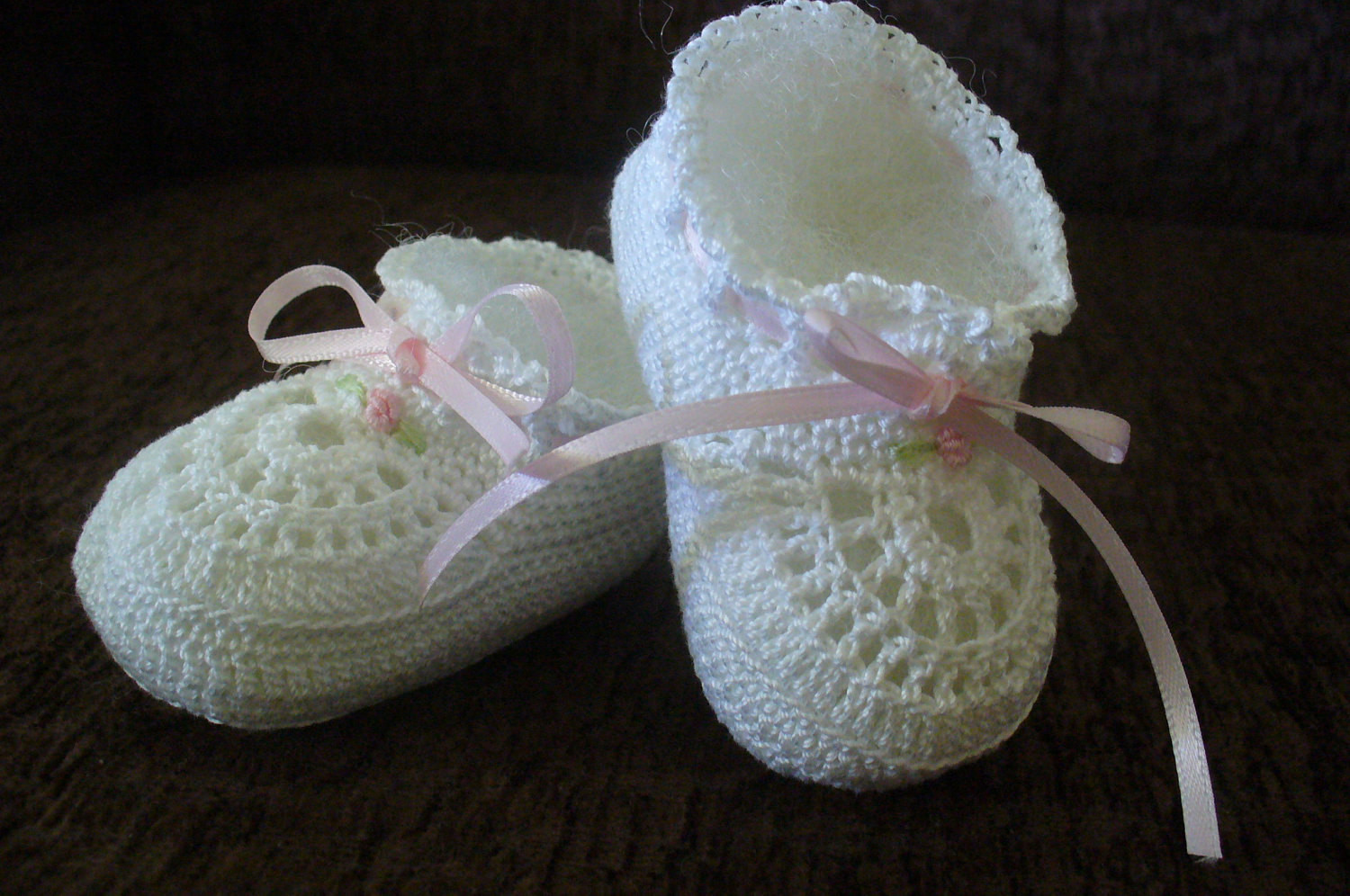 Hand Crocheted Old Fashioned Cotton Thread Baby Girl Booties