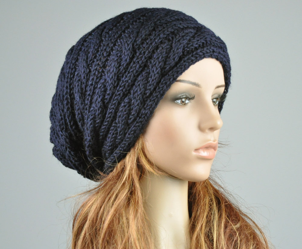 Lovely Hand Knit Hat Navy Hat Slouchy Hat Cable Pattern Hat Slouchy Winter Hat Of Top 47 Models Slouchy Winter Hat