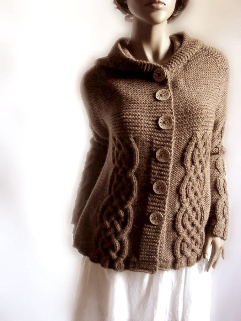 Hand Knit Sweater Womens Cable Knit Cardigan Hooded Coat