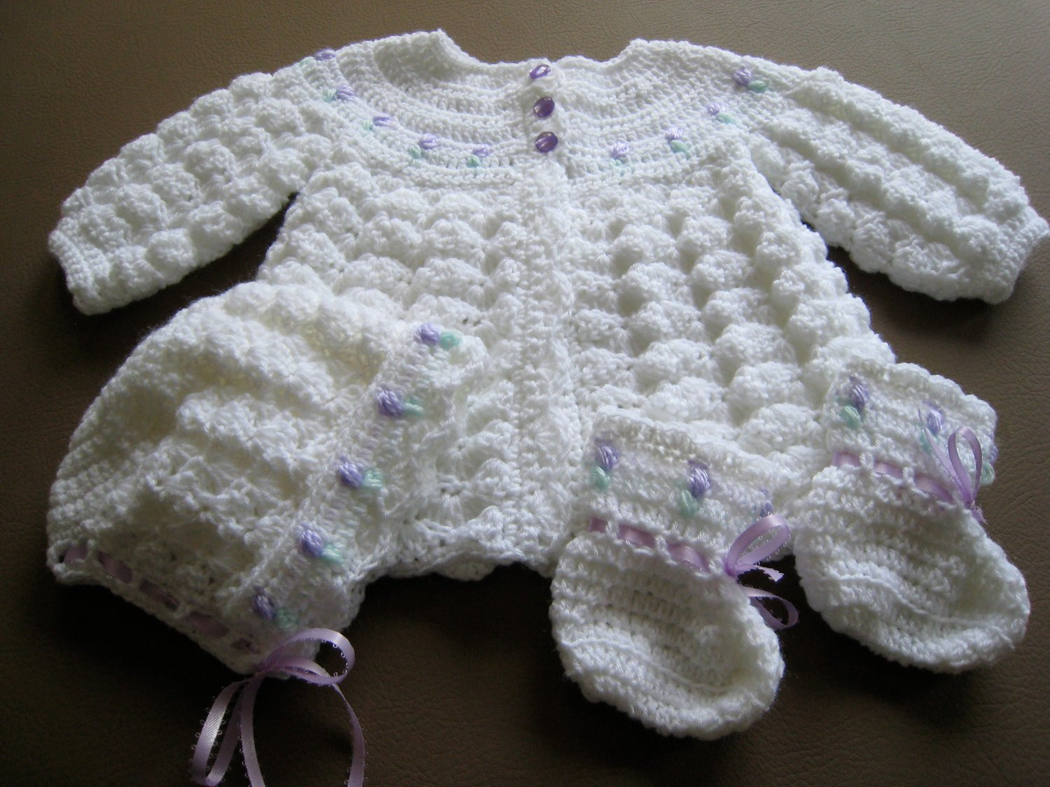Handmade Crochet Baby GIrls Sweater Set With by canamcreations