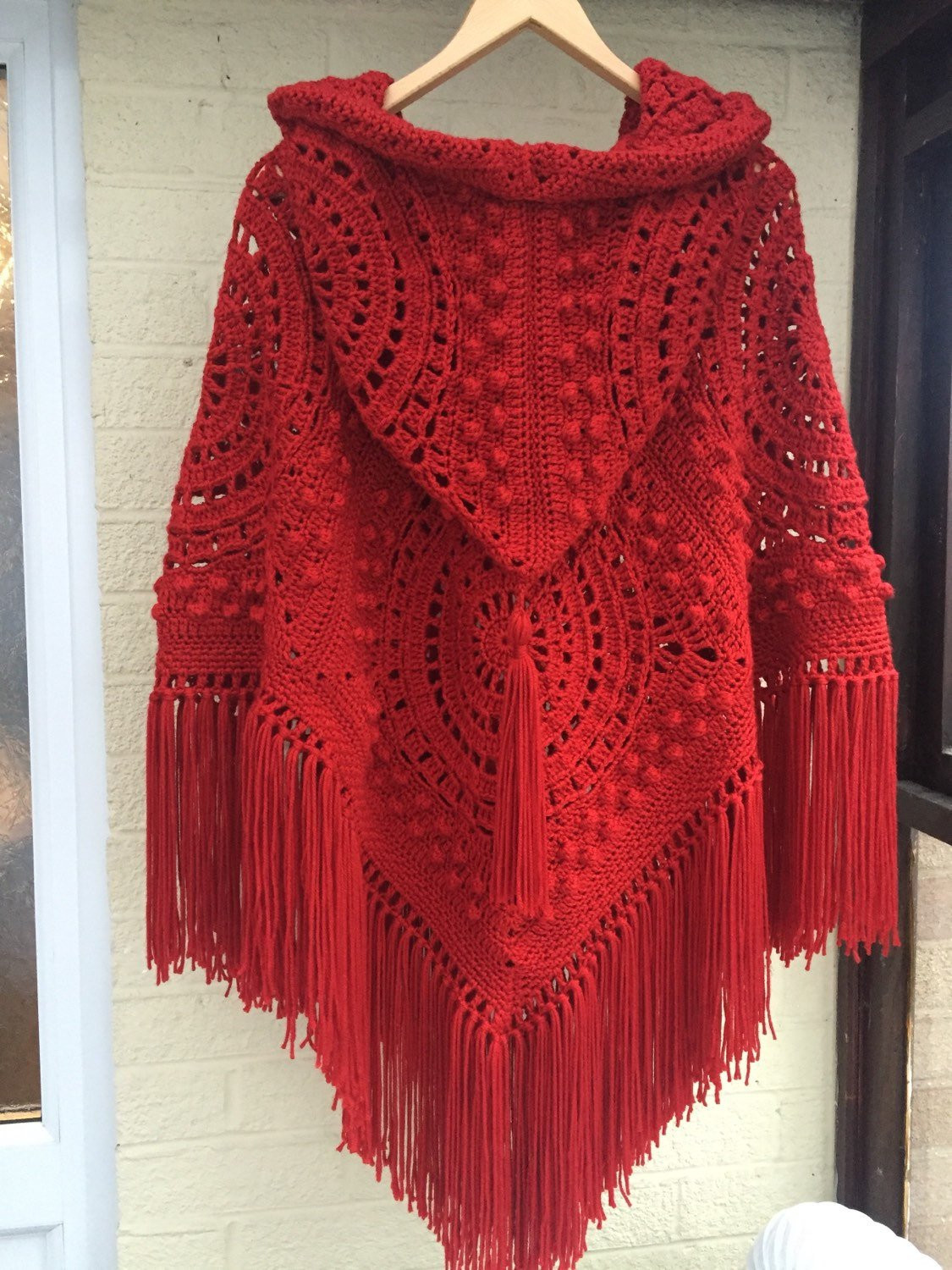 Lovely Handmade Crochet Hooded Poncho with Fringe and Tassel In Crochet Poncho with Hood Of Fresh 40 Pictures Crochet Poncho with Hood