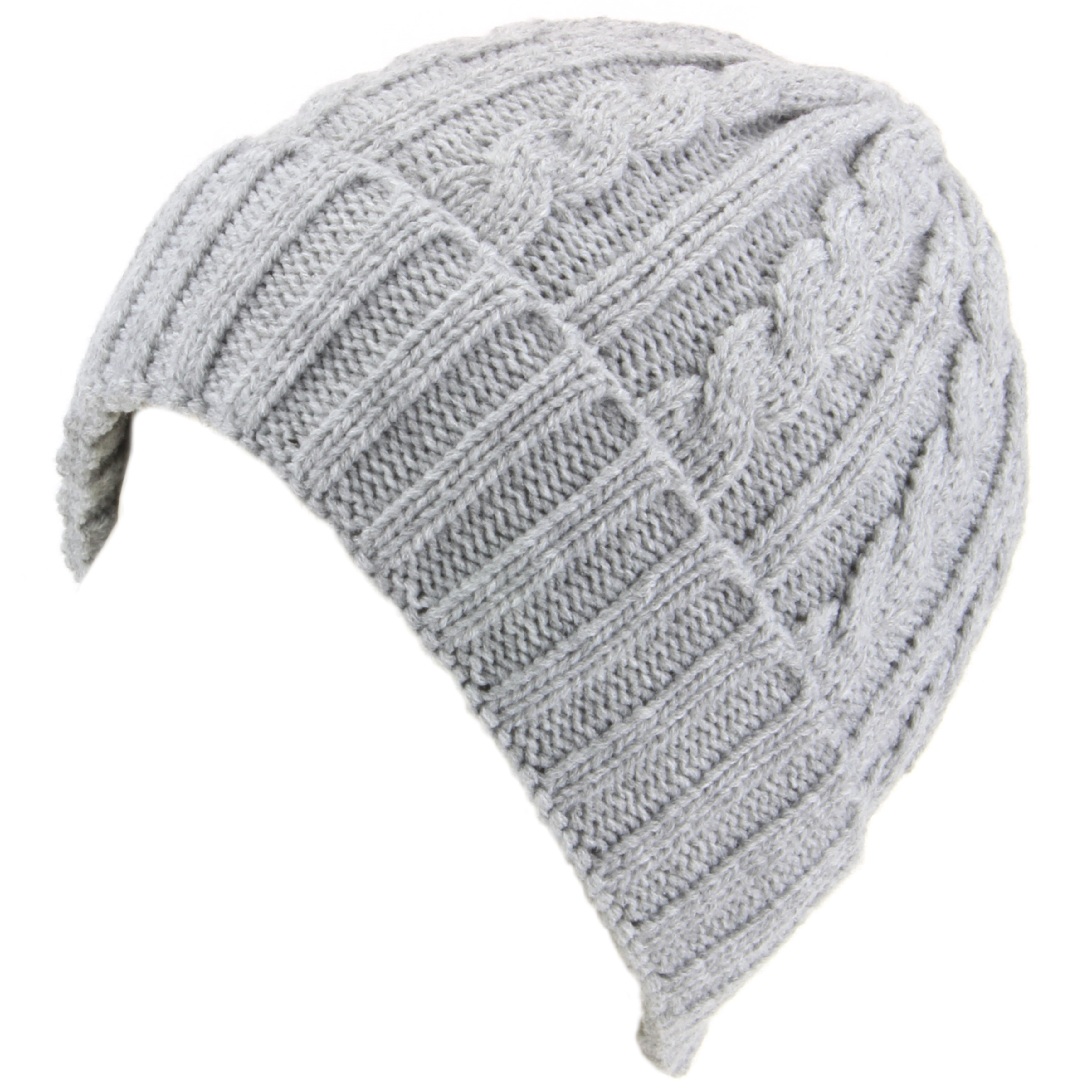 Hawkins cable knit beanie hat with turn up Light grey