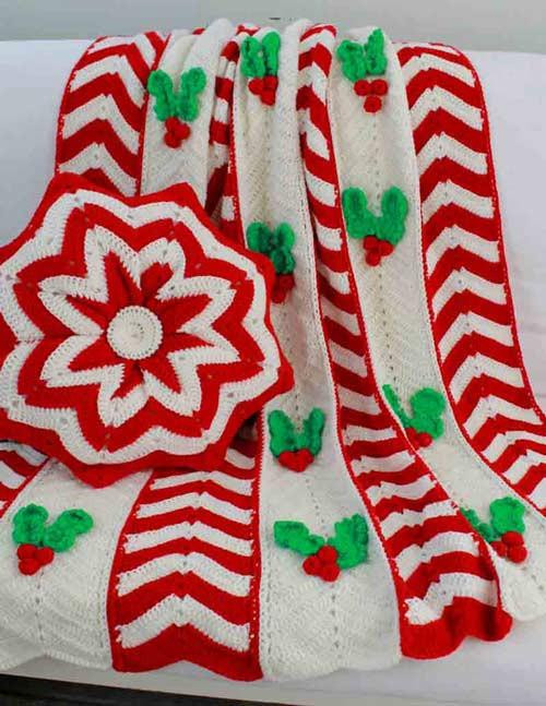 Lovely Holly Ripple Afghan and Pillow Crochet Pattern – Maggie S Crochet Christmas Afghan Of Contemporary 48 Pics Crochet Christmas Afghan