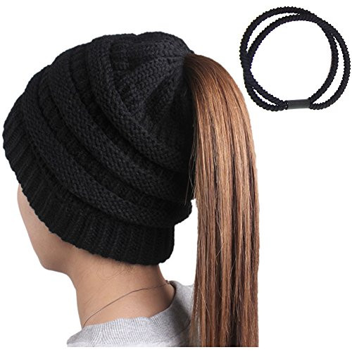 Hosenhan Women Beanie Hats with Ponytail Hole Knit Beanies