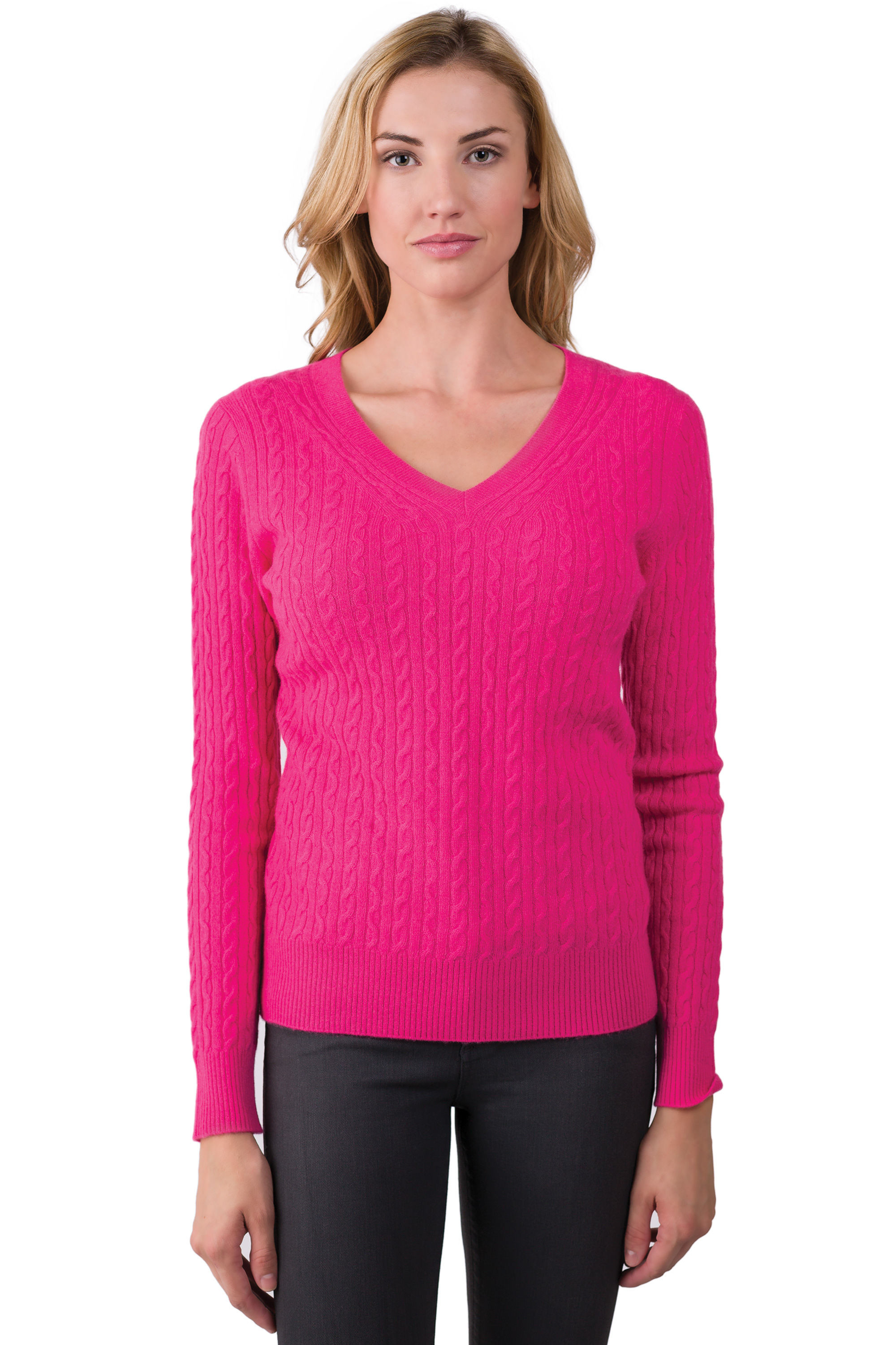Lovely Hot Pink Cashmere Cable Knit V Neck Sweater J Cashmere V Neck Cable Knit Sweater Of Great 44 Pictures V Neck Cable Knit Sweater