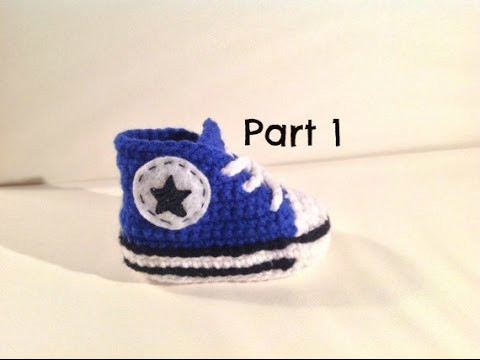 Lovely How to Crochet Baby Converse Style Booties Part 1 Crochet Converse Slippers Of Amazing 40 Ideas Crochet Converse Slippers