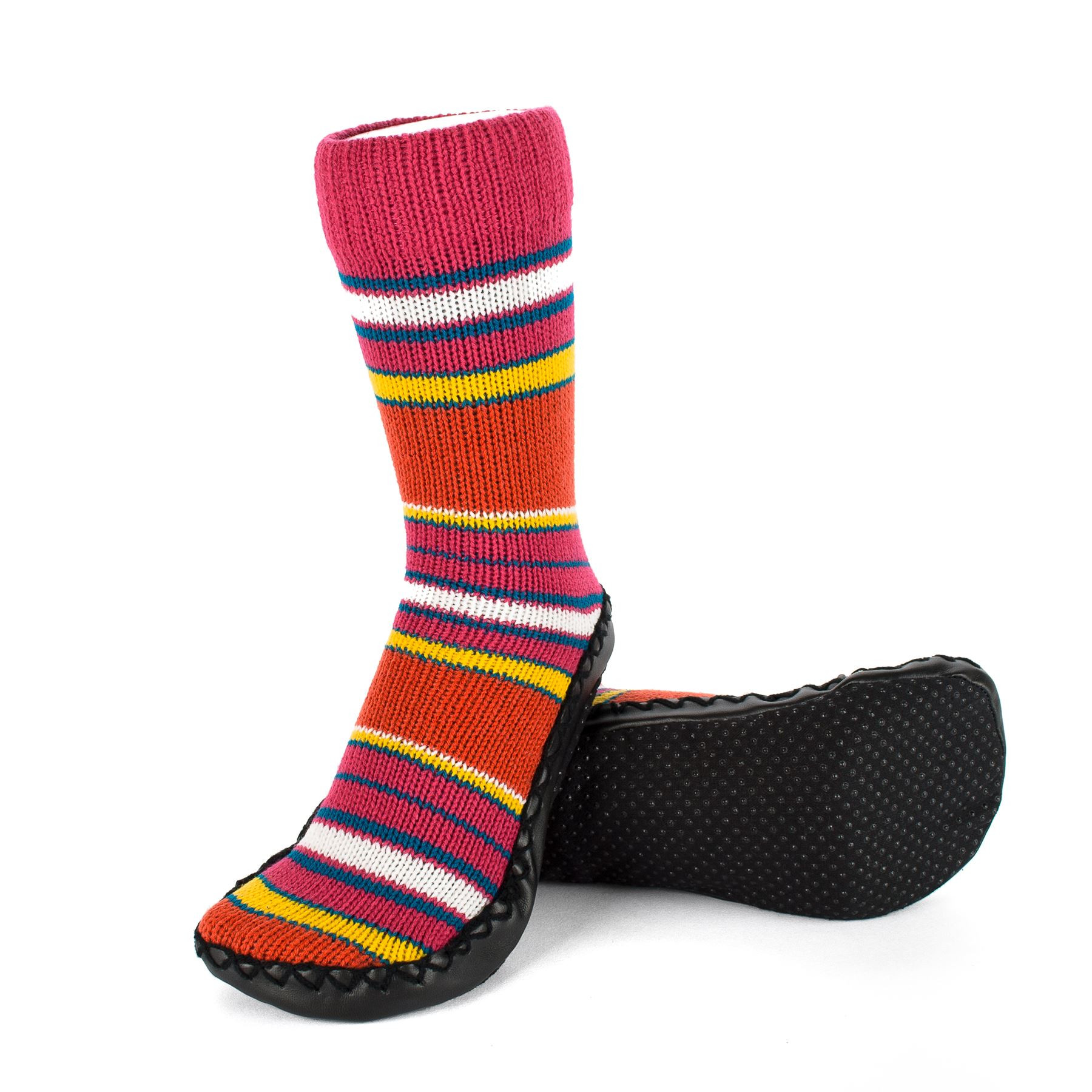 Indoor Knitted Slipper Boots with Gripper Sole Striped