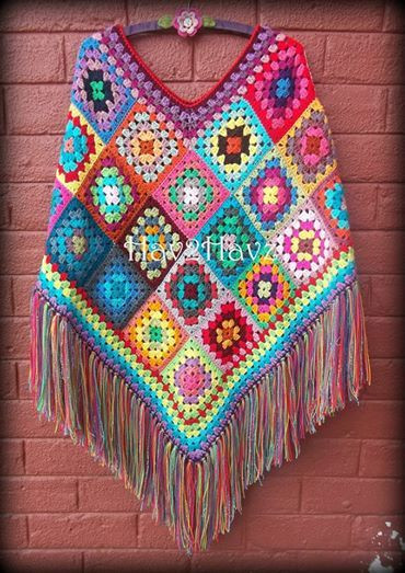 Lovely Inspiration Shawls Pinterest Granny Square Poncho Of Adorable 49 Photos Granny Square Poncho