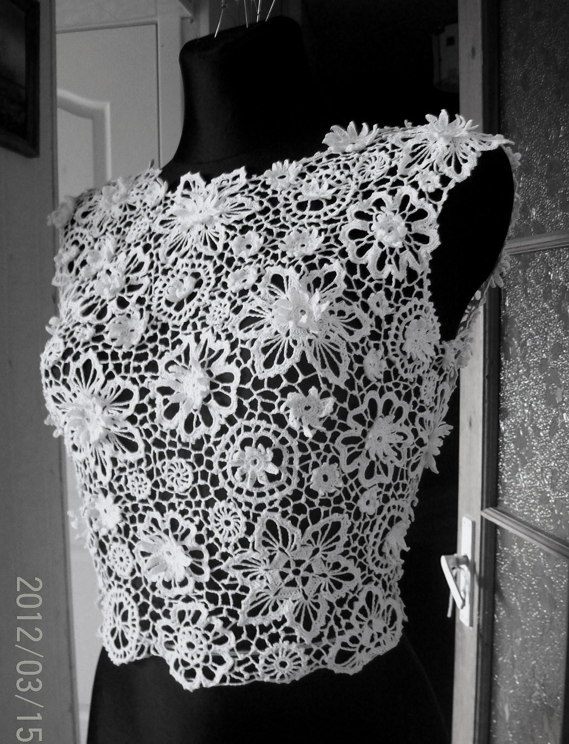 Irish crochet lace blouse dress top by LaimInga on Etsy