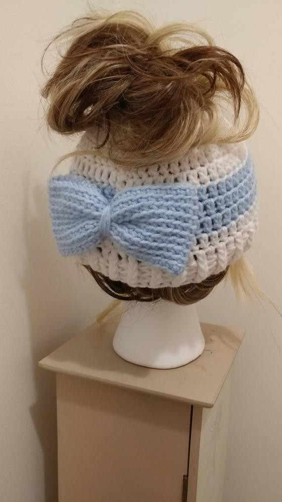 Items similar to Messy Bun Beanie Stripe and Bow on Etsy