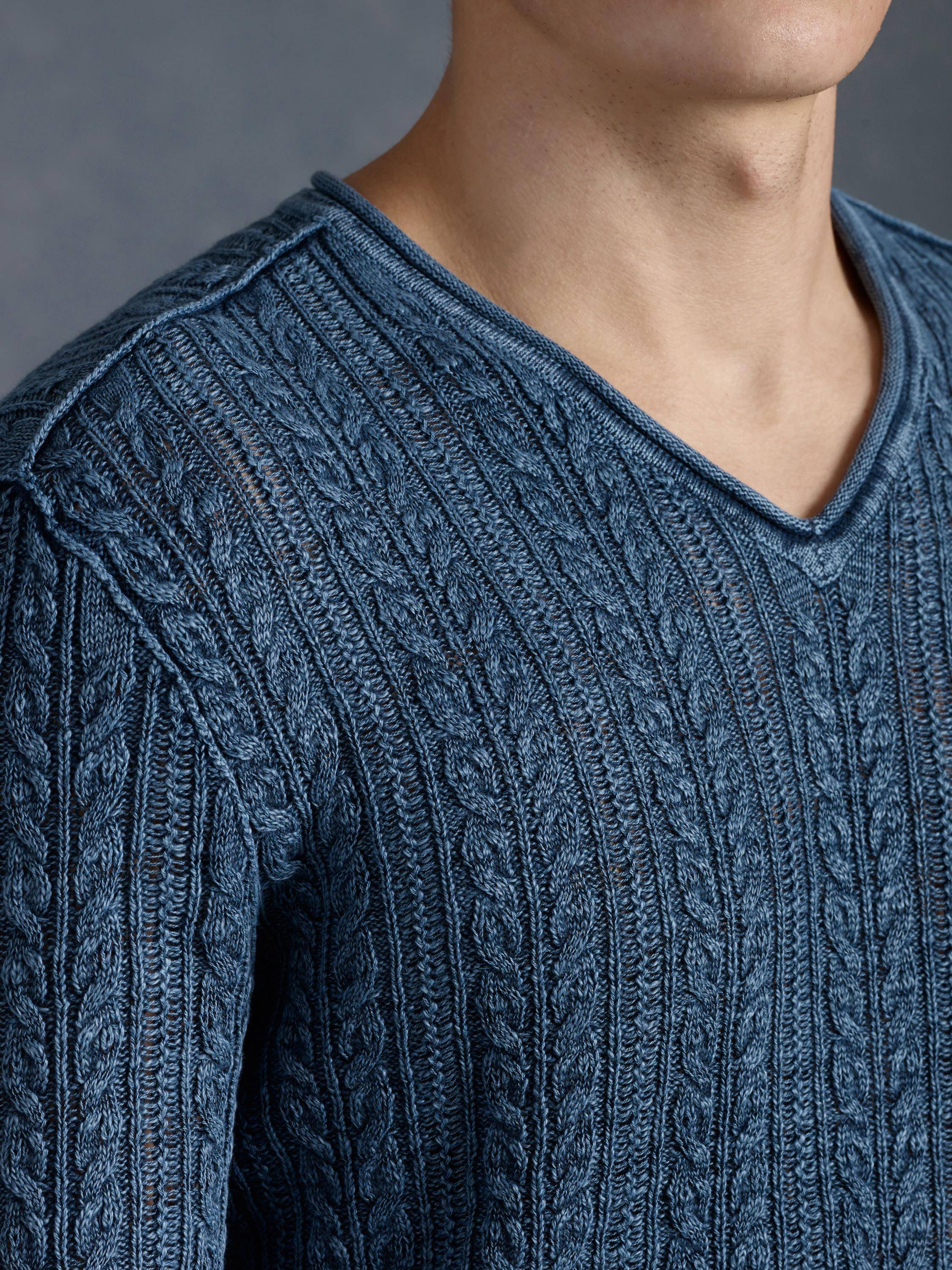 Lovely John Varvatos V Neck Cable Knit Sweater In Blue for Men V Neck Cable Knit Sweater Of Great 44 Pictures V Neck Cable Knit Sweater