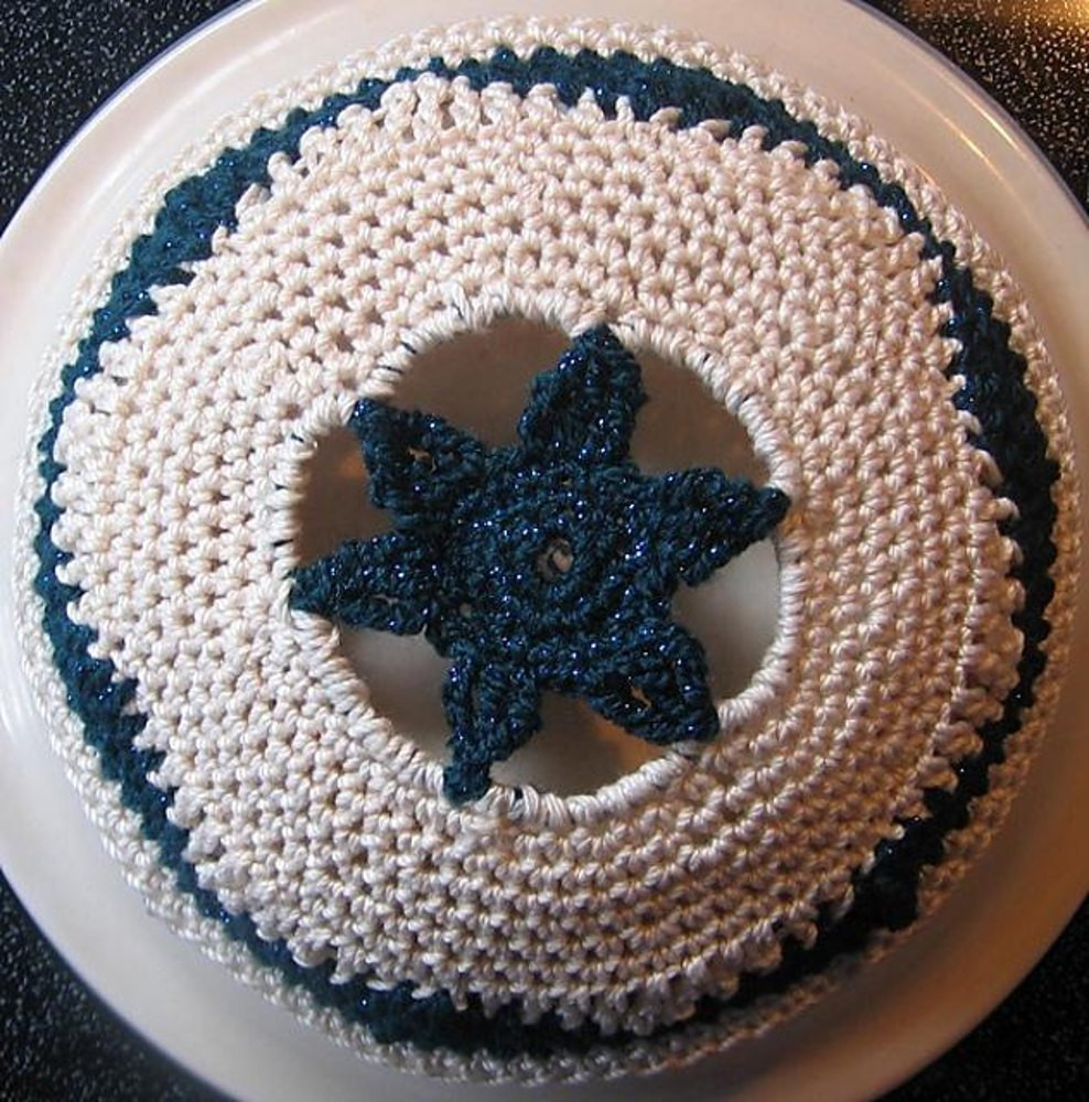 Keeping Kippah Yarmulke Star of David Version Crochet